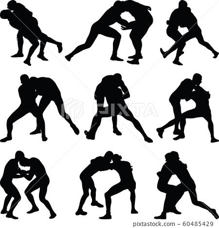 wrestling silhouette vector 60485429