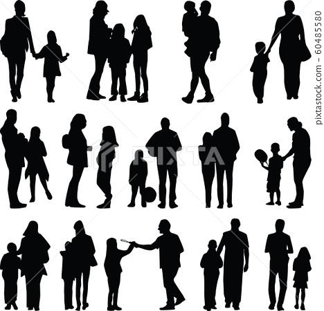 family silhouette vector 60485580