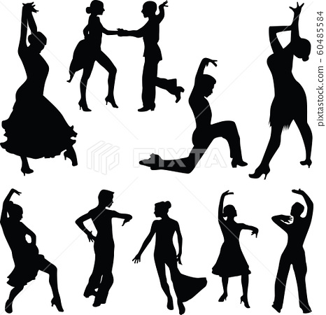 dance people silhouette vector 60485584