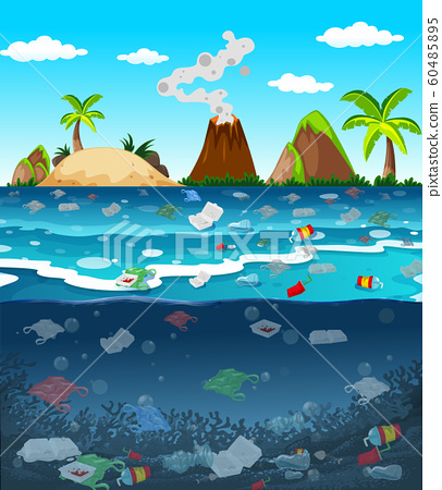 Water pollution with plastic bags in ocean 60485895