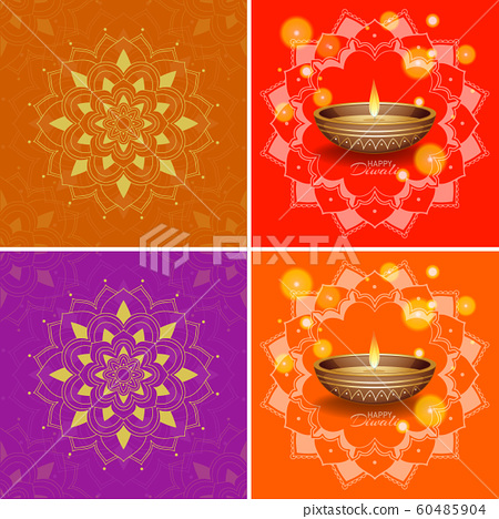 Background Template With Mandala Designs Stock Illustration 60485904 Pixta