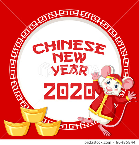 Happy new year background design with rat and gold 60485944