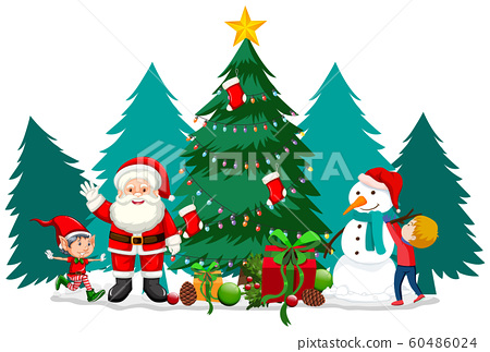 Christmas theme with Santa and snowman 60486024