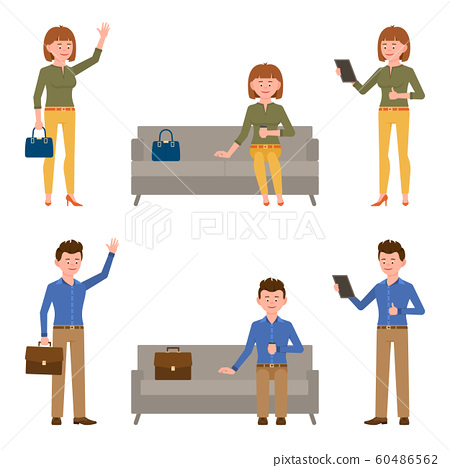 Smiling, young business man and woman vector illustration. Standing side view, waving hello, using tablet, sitting on sofa, waiting, reading office boy and girl cartoon character set 60486562