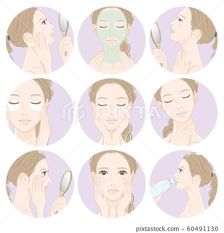 做護膚的婦女的例證 60491130