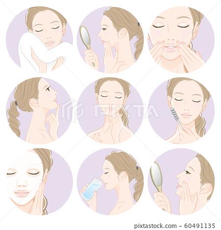 做護膚的婦女的例證 60491135