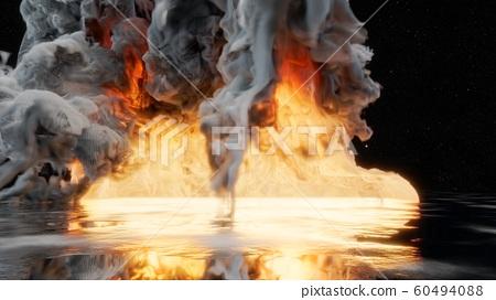 Fire with smoke dark background 60494088