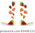 Fresh strawberries springing up from a wooden spoon resting on a white background,The object has a cutting path,Food and drink concepts. 60496133