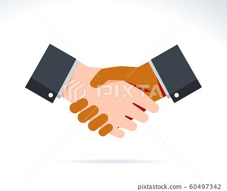 Handshake illustration with white and black hand 60497342