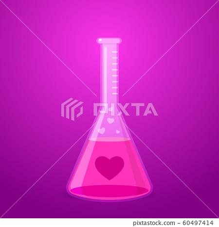 pink liquid inside laboratory tube. Isolated 60497414