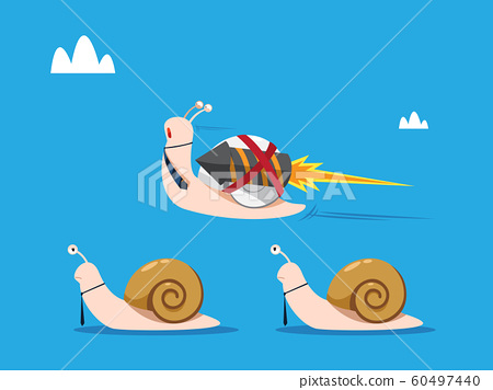 Rocket snail with necktie passing trough other 60497440