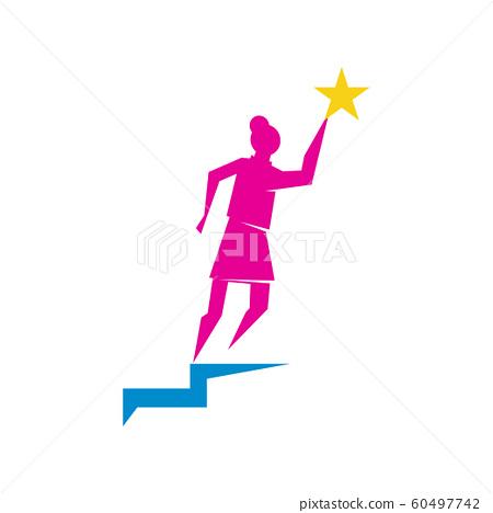 Woman power Ladder Star logo vector illustration 60497742