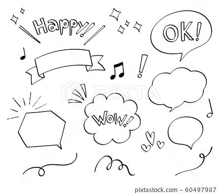 鋼筆標記手繪裝飾套(語音氣球,短語) 60497987