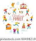Vector Christmas winter design for holiday market with shopping and active people in a circle. 60498219