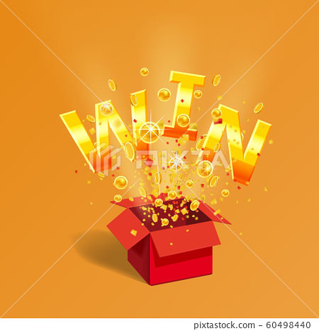 Open red Gift box WIN gold text with coins and confetti explosion inside. Flying particles foil burst. Lottery drawing advertising banner poster template. Vector illustration isolated 60498440