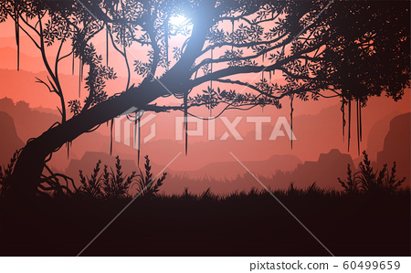 Natural forest trees mountains horizon hills Sunrise and sunset Landscape wallpaper Illustration vector style Colorful view background 60499659