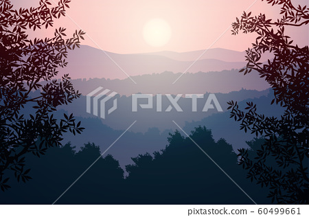 Natural forest trees mountains horizon hills Sunrise and sunset Landscape wallpaper Illustration vector style Colorful view background 60499661