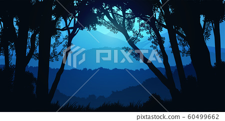 Natural forest trees mountains horizon hills Sunrise and sunset Landscape wallpaper Illustration vector style Colorful view background 60499662