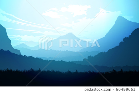 Natural forest trees mountains horizon hills Sunrise and sunset Landscape wallpaper Illustration vector style Colorful view background 60499663