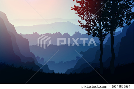 Natural forest trees mountains horizon hills Sunrise and sunset Landscape wallpaper Illustration vector style Colorful view background 60499664
