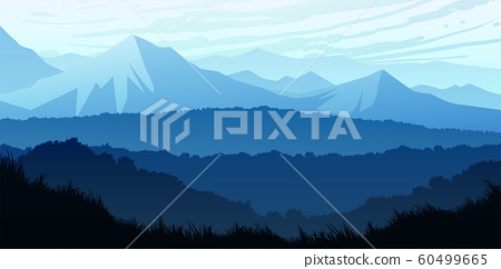 Natural forest trees mountains horizon hills Sunrise and sunset Landscape wallpaper Illustration vector style Colorful view background 60499665
