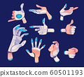 Robot or cyborg hand in different gestures 60501193