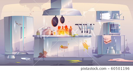 Damaged kitchen in restaurant, interior with fire 60501196