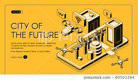 City of future isometric web banner 60501264