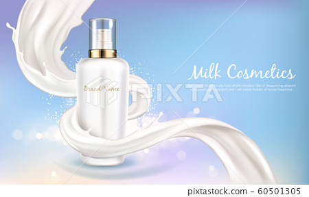 cosmetic banner with white bottle in milk swirl 60501305