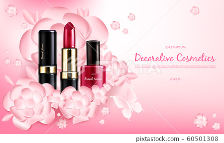 Banner with a female collection of makeup cosmetics 60501308