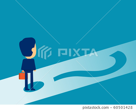 Businessman standing on question mark. Concept 60501428