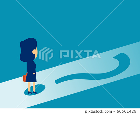 Businesswoman standing on question mark. Concept 60501429