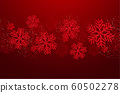 Vector Christmas card with red snowflakes and glitter 60502278
