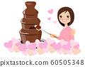 초콜릿 분수와 여자 60505348