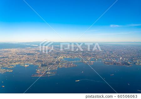 清晨横滨港东京湾日本航拍广阔,清晰,美丽的城市,航拍,航拍,航拍 60506063