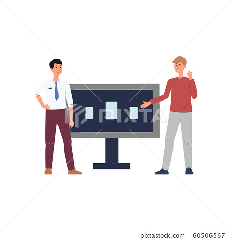 Expo centre customer and vendor near demo stand flat vector illustration isolated. 60506567