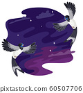 Two flying birds of a swallow look at each other, night sky on the background . Vector illustration 60507706