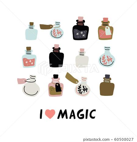 Vector set of colorful magic potion bottles 60508027