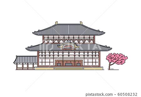 Traditional Japanese Todaiji Buddhist temple with sakura tree 60508232