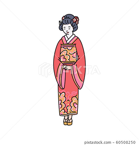 Japanese woman in traditional kimono sketch vector illustration isolated. 60508250