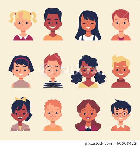 Cute Cartoon Children Portrait Set Different Stock Illustration 60508422 Pixta