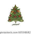 Abstract Christmas tree made of set vegetables. Vegetarian Christmas tree. Hand drawn illustration - vector 60508682