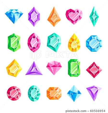 Jewels gems. Jewelry diamond, jewel heart crystal gem and diamonds gemstone isolated vector illustration set 60508954