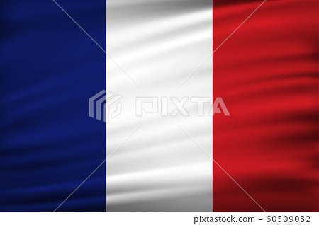 France flag of silk with fabric texture background. 60509032