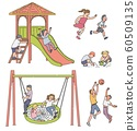 Cartoon children in playground - isolated set of boys and girls playing 60509135