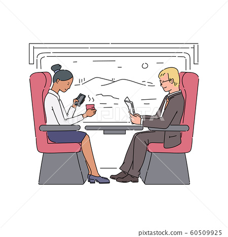 People traveling in train railway carriage, vector sketch illustration isolated. 60509925