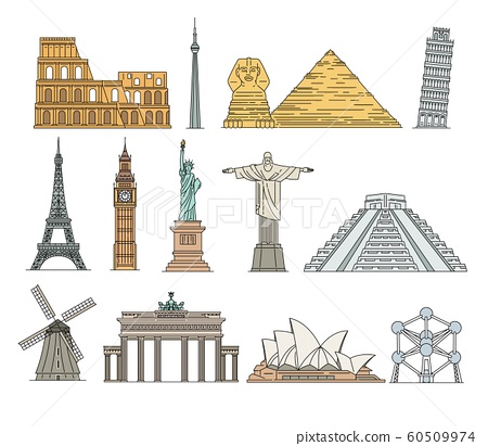 World famous landmarks icons set of sketch vector illustrations isolated. 60509974