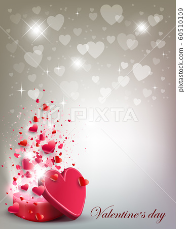 Light Composition With A Set Of White Hearts Stock