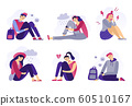 Depressed teenagers. Sadness student, unhappy stressed teen sad boy and crying girl. School stress isolated flat vector illustration 60510167