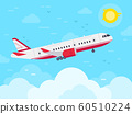 Airplane flying in sky. Jet plane fly in clouds, airplanes travel and vacation aircraft flat vector illustration 60510224